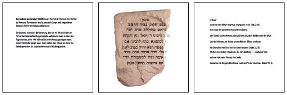 Tableau mit dem ältesten Grabstein